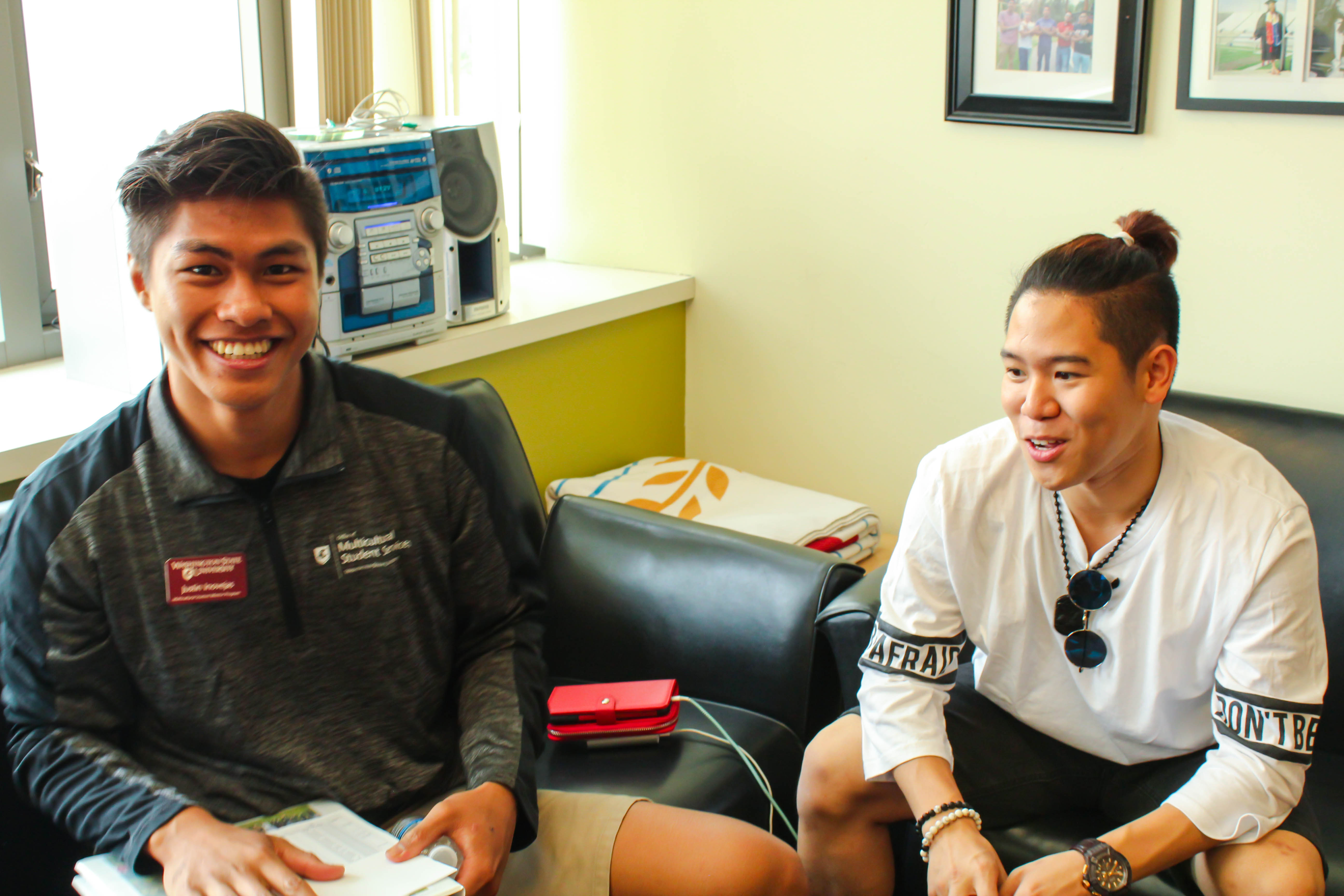 Mentor and Mentee meeting during open house event
